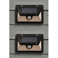 Set of 2 450 Lumens Solar Security PIR Light in Black (34 LEDs)