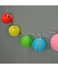 10 Multi-Coloured Globe String Light Lanterns (Battery) by Smart Solar