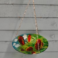 Poppy Hanging Glass Bird Feeder by Chapel Wood