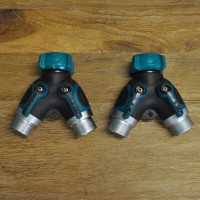 2 Way Garden Tap Hose Splitter Manifold (Set of 2)