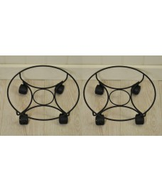 Set of 2 x Round Metal Plant Caddy Pot Movers (33cm)