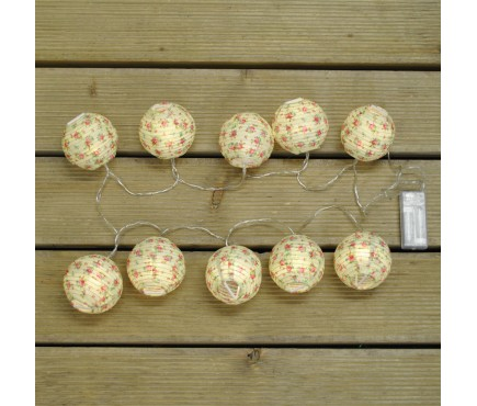 10 LED Floral Lantern String Lights (Battery) by Kingfisher