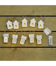 10 LED Decorative White Houses (Battery) String Lights by Kingfisher