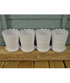 Decorative Filigree Plastic Flower Pot (Set of 4)