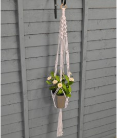 Set of 4 White Rope Hanging Plant Pot Holders (30cm)