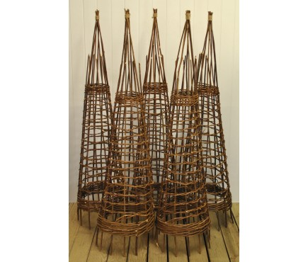 Set of 5 Rustic Willow Garden Obelisks (1.5m)