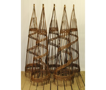 Set of 5 Willow Spiral Garden Obelisks (1.5m)