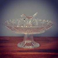 Hobnail Clear Glass Round Birdbath by Fallen Fruits