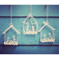 Set Of Three Hanging Glass Nativity Christmas Tree Decorations by Premier