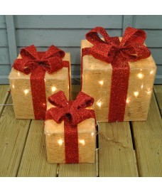 Set of 3 LED Light Up Warm White Christmas Gift Boxes by Premier