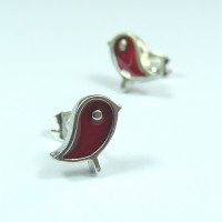 Red Robin Stud Earrings