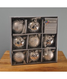 Silver Decorated 6cm Bauble Decorations (Set of 9) by Premier