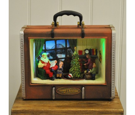Light Up Christmas Suitcase with Santa's House Scene