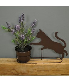 Metal Kitten Silhouette Shaped Garden Planter by Rustic Garden