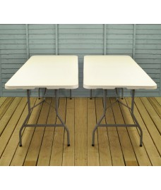 Set of 2 White Folding Trestle Tables (180cm)