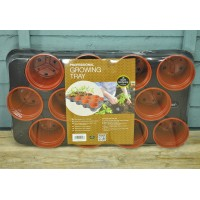 Plastic Potting Tray with 12 Plant Pots (11cm) by Garland