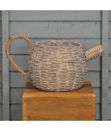 Wicker Teapot Shaped Garden Planter by Kingfisher
