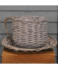 Wicker Coffee Cup Shaped Garden Planter by Kingfisher
