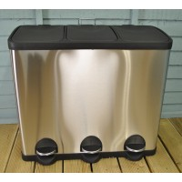 Kitchen Recycling Bin With 3 Compartments (60 Litres)